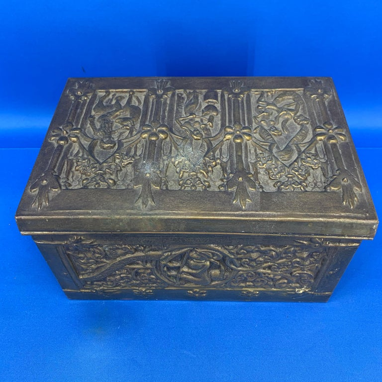 Vintage Brass Jewelry Box With Religious Scenes For Sale 1