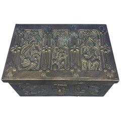 Vintage Brass Jewelry Box With Religious Scenes