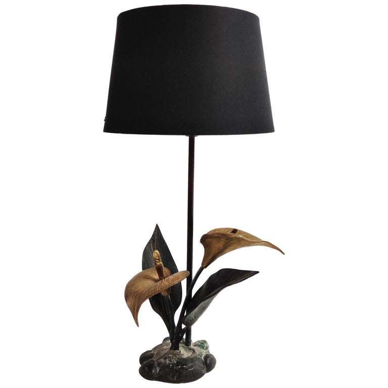 Vintage Brass Lily Flower Table Lamp, 1970s For Sale