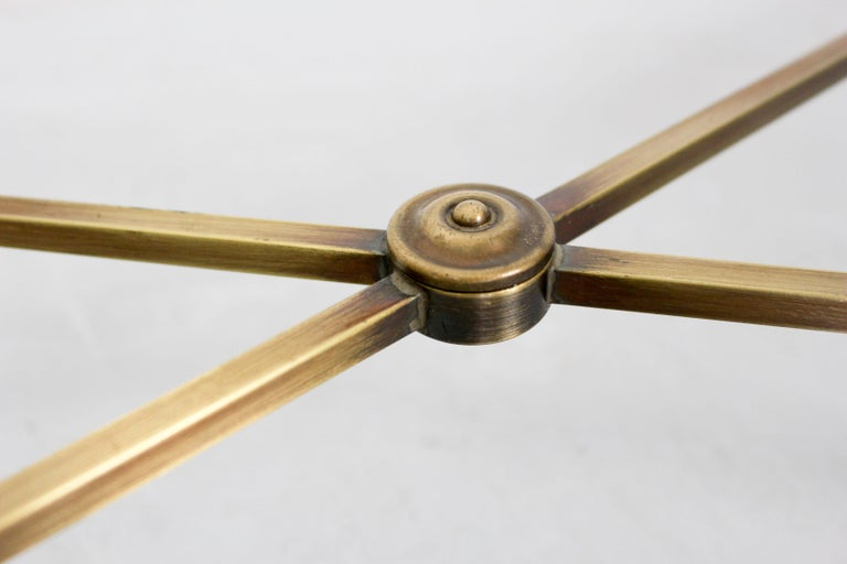 Dutch Vintage Brass-Look and Facet Glass Side Table, 1960s For Sale