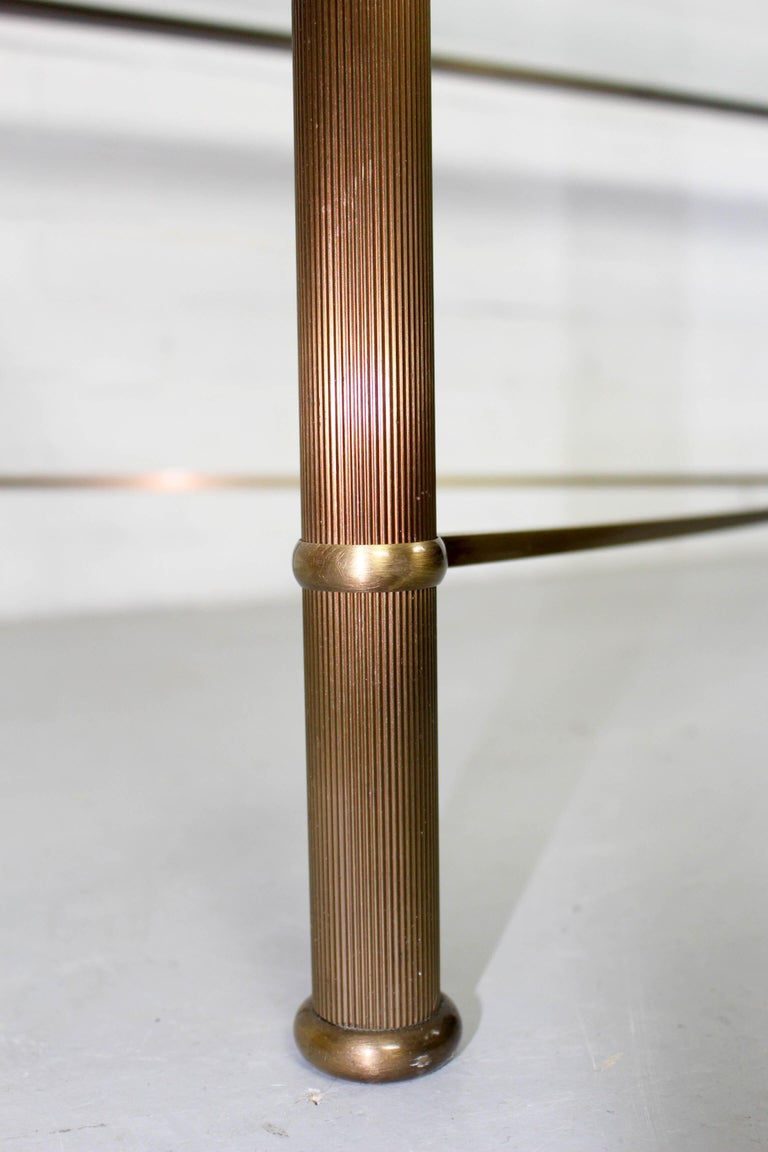 Faceted Vintage Brass-Look and Facet Glass Side Table, 1960s For Sale