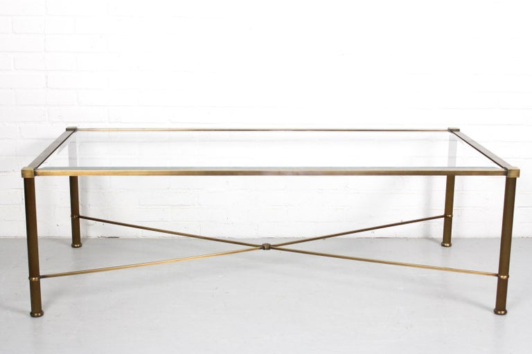 20th Century Vintage Brass-Look and Facet Glass Side Table, 1960s For Sale