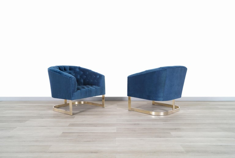 American Vintage Brass Lounge Chairs Attributed to Milo Baughman For Sale