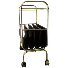 Vintage Brass Magazine Rack or Side Table with Glass, 1970s, Belgium