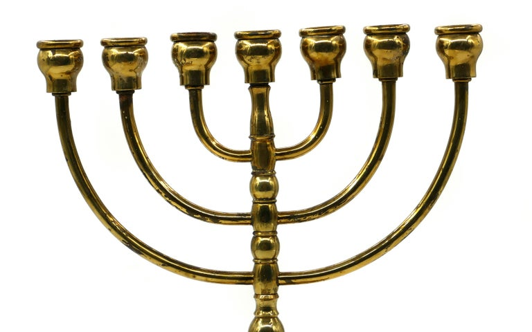 European Vintage Brass Menorah Candlestick, Europe, Early 20th Century For Sale