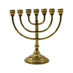 Vintage Brass Menorah Candlestick, Europe, Early 20th Century