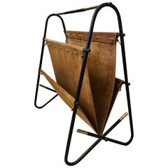 Vintage Brass, Metal and Brown Suede Magazine Rack, circa 1970s