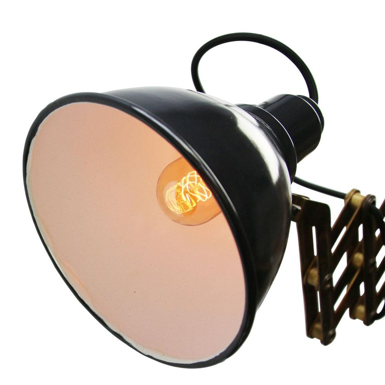 20th Century Vintage Brass Metal Industrial Scissor Black Enamel Wall Work Lights For Sale