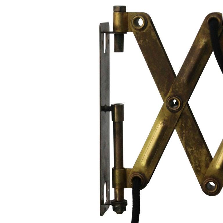 Vintage Brass Metal Industrial Scissor Black Enamel Wall Work Lights For Sale 2