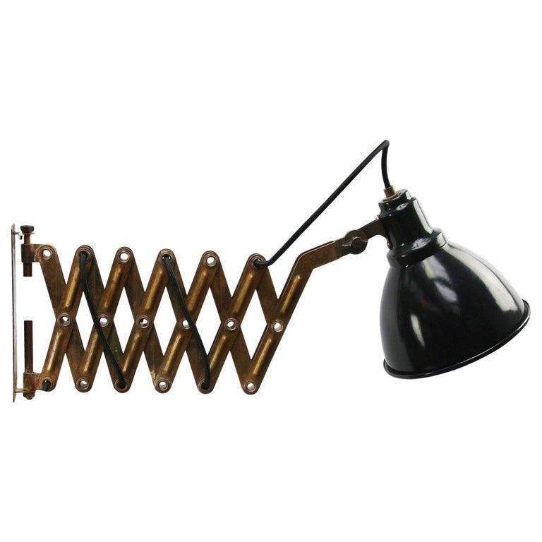Vintage Brass Metal Industrial Scissor Black Enamel Wall Work Lights For Sale