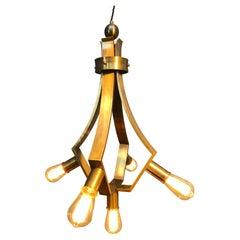 Vintage Brass Mid Century Brutalist 5 Lamp Chandelier