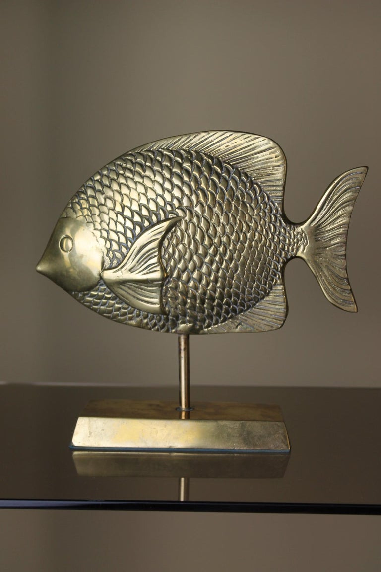 Vintage Brass Mounted Fish Sculpture 1970s For Sale 4