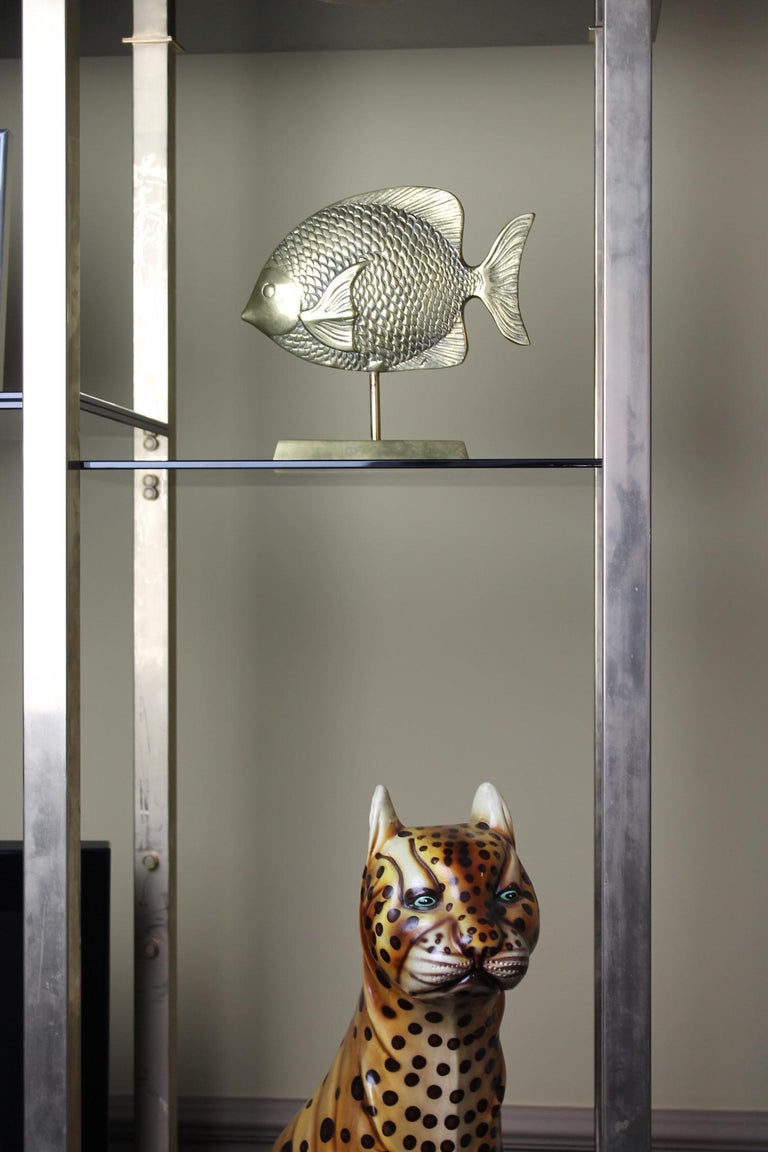Mid-Century Modern Vintage Brass Mounted Fish Sculpture 1970s For Sale