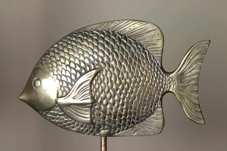 Vintage Brass Mounted Fish Sculpture 1970s In Good Condition For Sale In Antwerp, BE