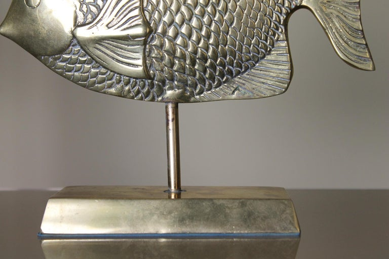 20th Century Vintage Brass Mounted Fish Sculpture 1970s For Sale