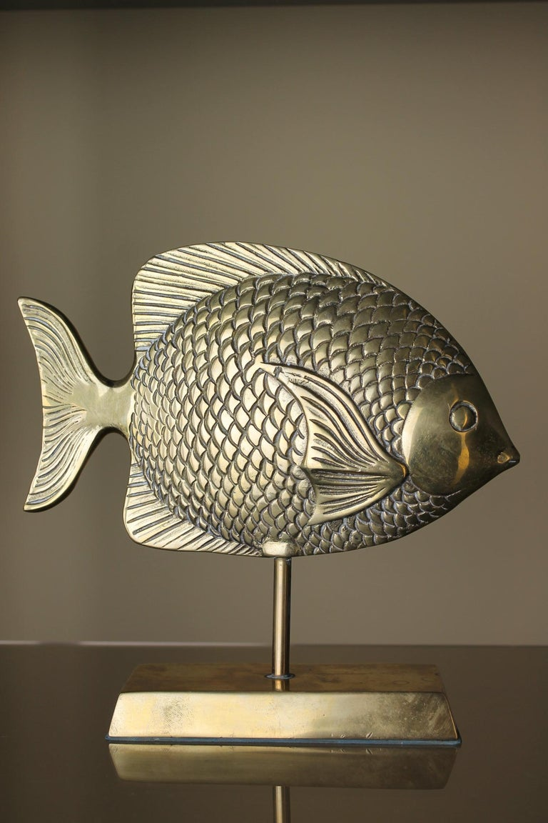 Vintage Brass Mounted Fish Sculpture 1970s For Sale 3