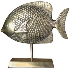 Vintage Brass Mounted Fish Sculpture,  1970s