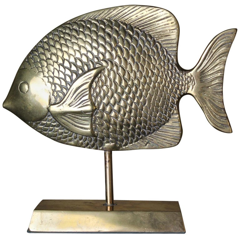 Vintage Brass Mounted Fish Sculpture 1970s For Sale
