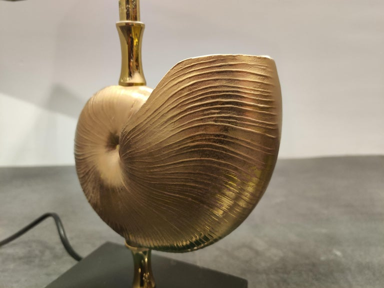 Vintage Brass Nautilus Shell Table Lamp, 1970s For Sale 1