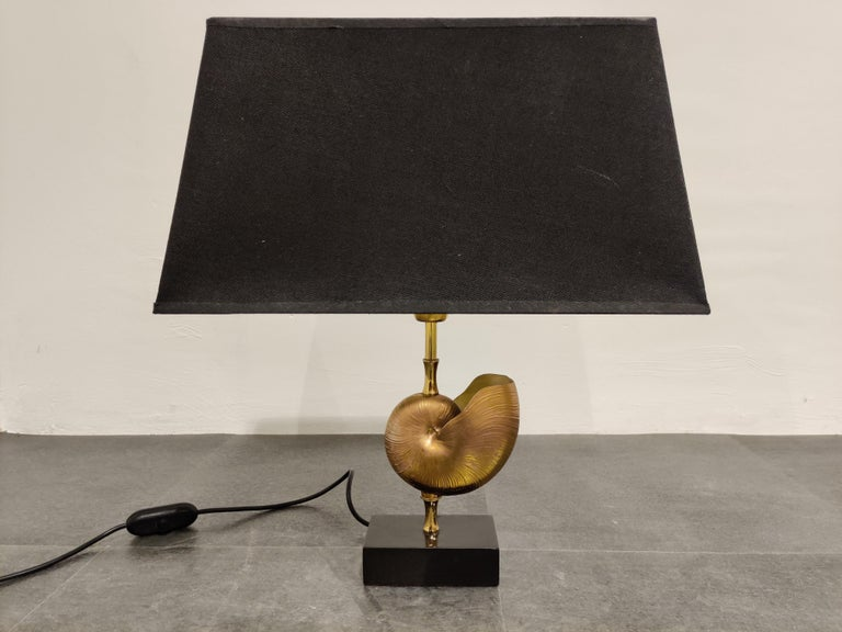 Vintage Brass Nautilus Shell Table Lamp, 1970s For Sale 3