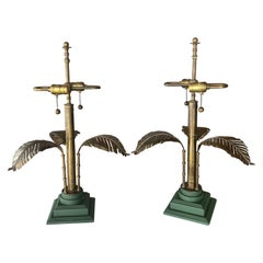 Vintage Brass Palm Tree Leaf Leaves Tropical Table Lamps