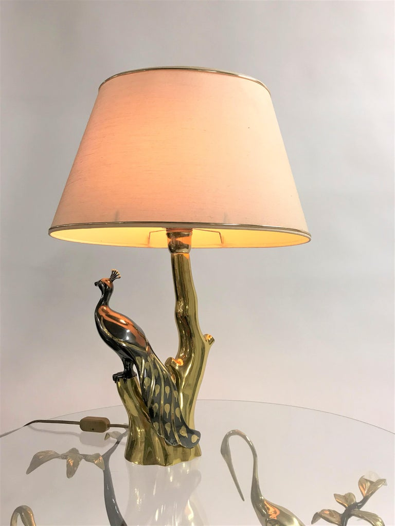 Vintage Brass Peacock Table Lamps by Willy Daro, 1970s For Sale 9