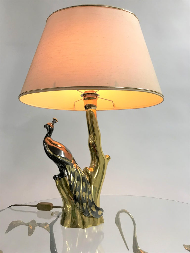 Vintage Brass Peacock Table Lamps by Willy Daro, 1970s For Sale 11