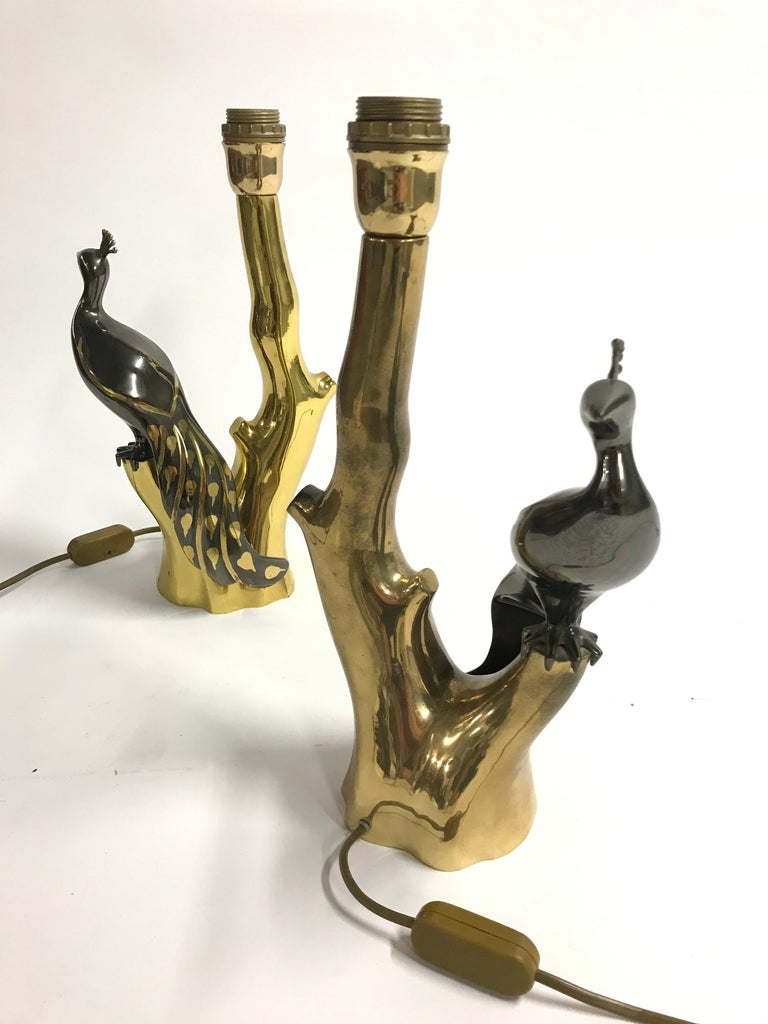 Belgian Vintage Brass Peacock Table Lamps by Willy Daro, 1970s For Sale