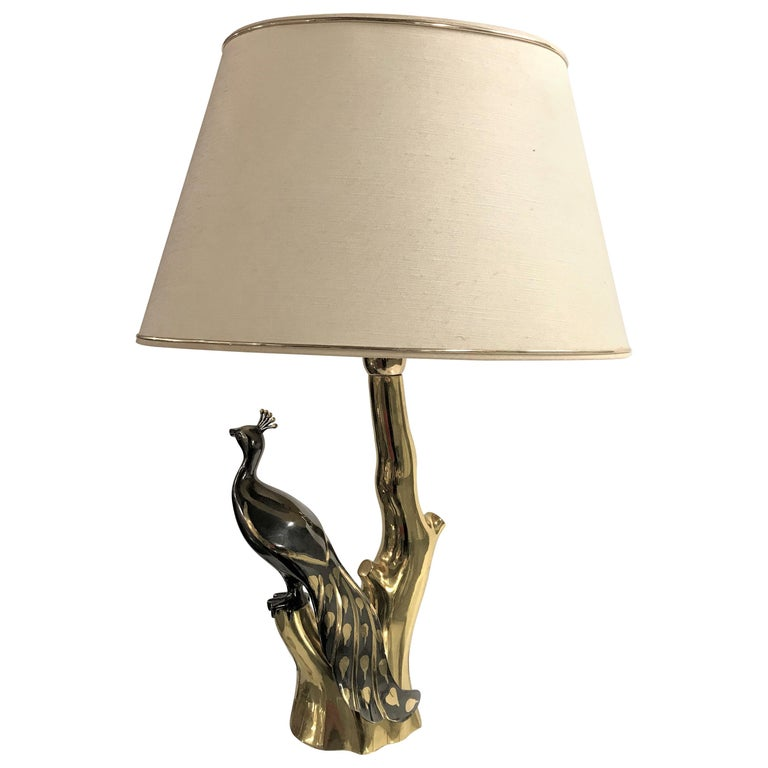 Vintage Brass Peacock Table Lamps by Willy Daro, 1970s In Excellent Condition For Sale In Neervelp, BE