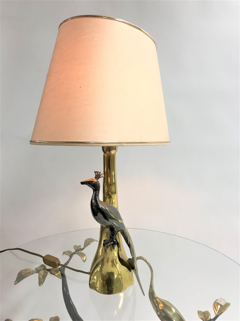 Late 20th Century Vintage Brass Peacock Table Lamps by Willy Daro, 1970s For Sale