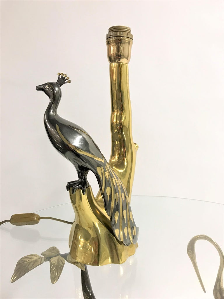 Vintage Brass Peacock Table Lamps by Willy Daro, 1970s For Sale 1