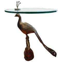 Vintage Brass Peacock Table with Glass Top