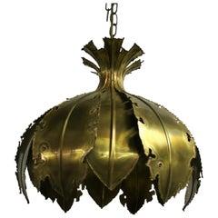 Vintage Brass Pendant Light by Svend Aage for Holm Sorensen, 1960s, Denmark