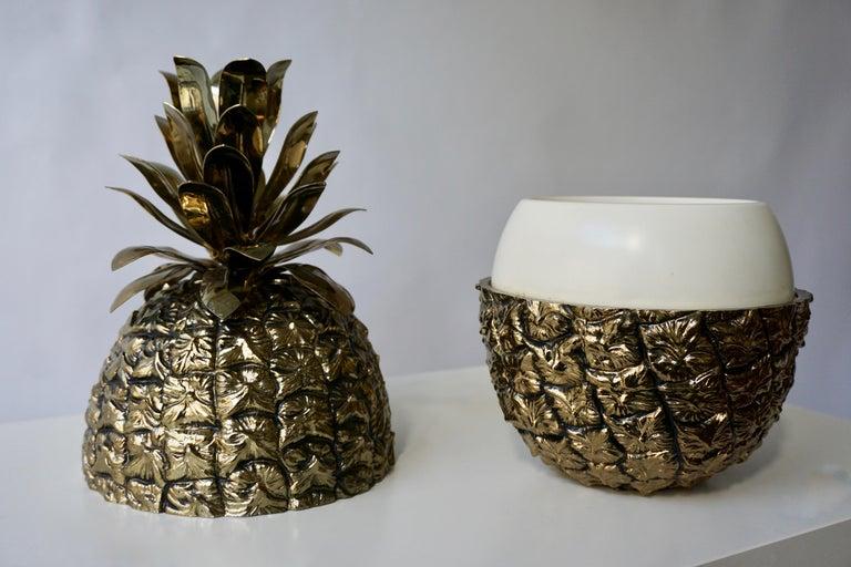20th Century Vintage Brass Pineapple Ice Bucket For Sale