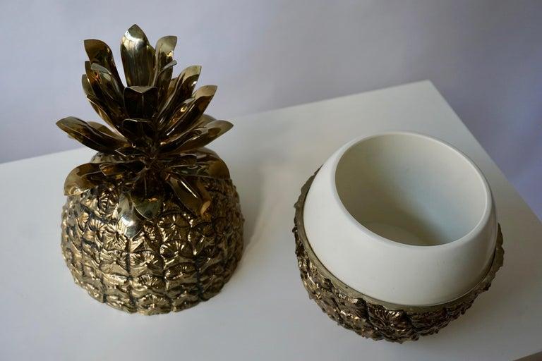 Vintage Brass Pineapple Ice Bucket For Sale 1