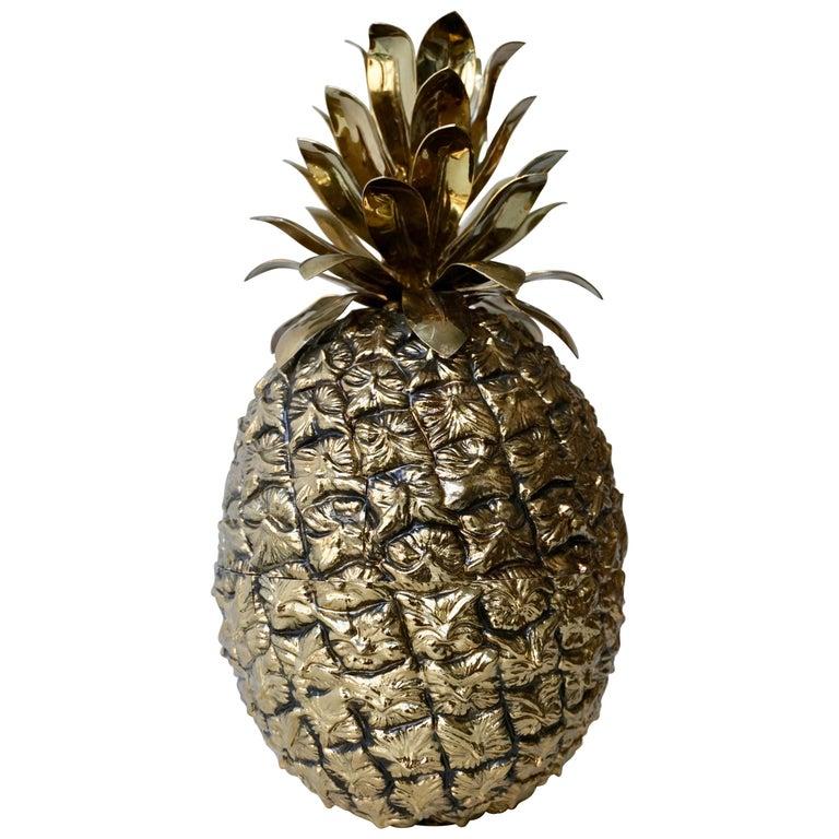 Vintage Brass Pineapple Ice Bucket For Sale