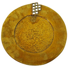 Vintage Brass Plate with Square Holes, 1970s