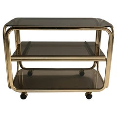 Vintage Brass-Plated Bar Cart Table Brown Smoked Glass Plates by Morex, 1970s