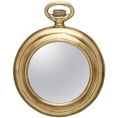 Vintage Brass Pocket Watch Mirror