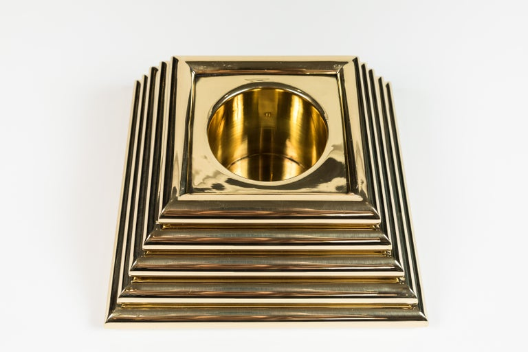 Polished Vintage Brass Pyramid Box For Sale