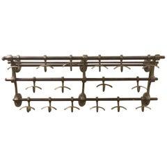 Vintage Brass Railroad Utility Wall Rack