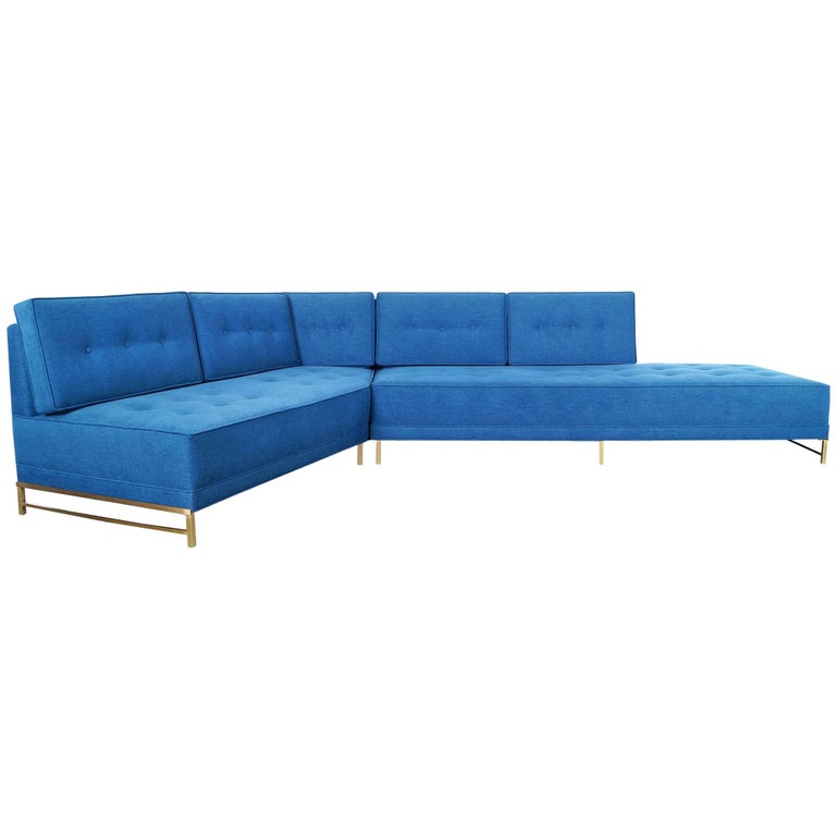 Vintage Brass Sectional Sofa by Paul McCobb for Directional For Sale