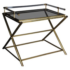 Vintage Brass Serving Table / Butler Tray Criss Cross