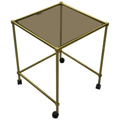Vintage Brass Side Table on Wheels, with Smoke Glass Top