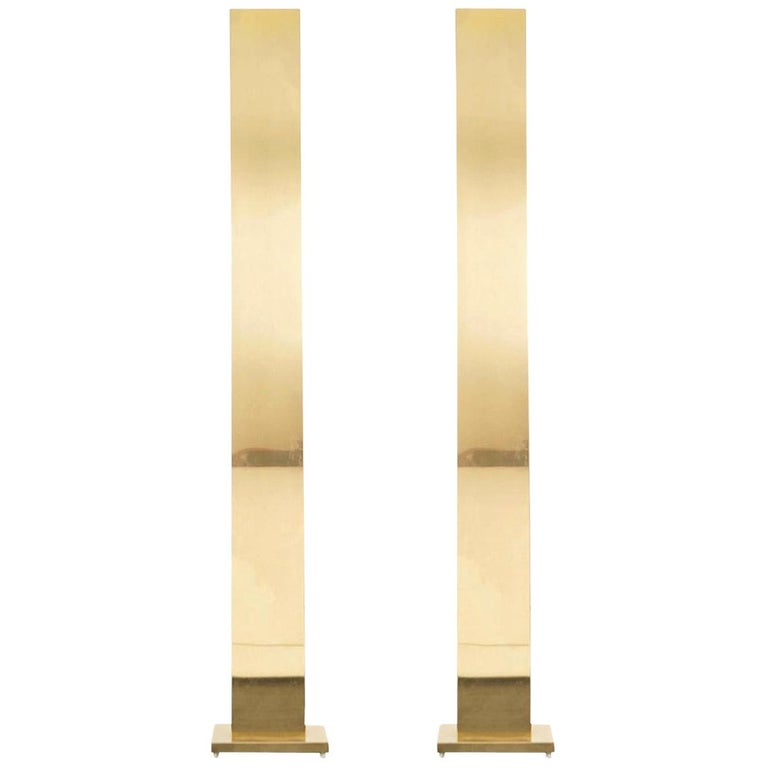 "Vintage Brass ""Skyscraper"" Floor Lamps by Casella For Sale"