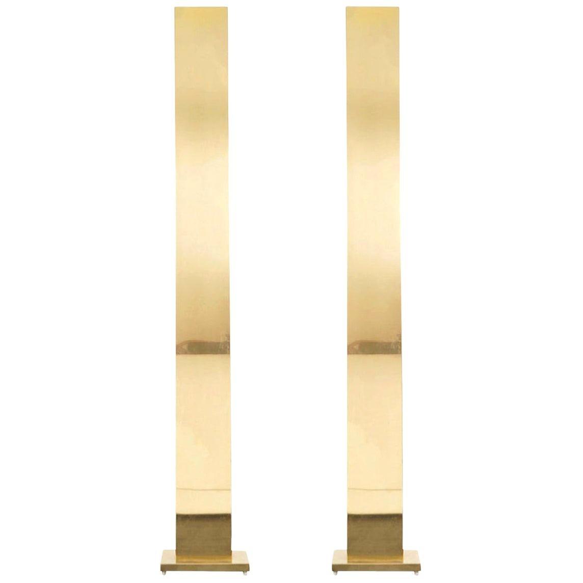 """Vintage Brass """"Skyscraper"""" Floor Lamps by Casella"""