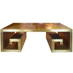 Vintage Brass Studded Greek Key Coffee Table