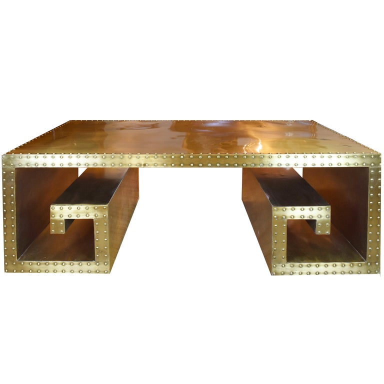 Vintage Brass Studded Greek Key Coffee Table For Sale At