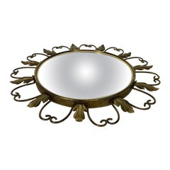 Vintage Brass Sunburst Convex Mirror, 1960s