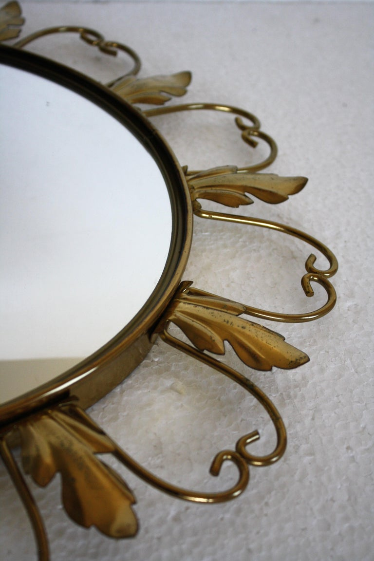 French Vintage Brass Sunburst Mirror, 1960s For Sale